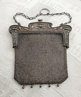 Antique Sterling Silver Chainmaille Purse - Excellent - Rare Hallmark - c.1905