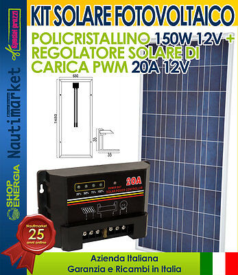 Solar Photovoltaic Polycrystalline 150W 12V Kit + 20A Charger Boating Camper Mou