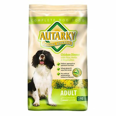 Autarky Chicken Dinner with Rice Herbs Vegetables Dry Adult Dog Food Feed 15kg