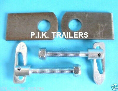 2 x Antiluce M12 x 75mm Trailer Tail Gate Drop Catch Fasteners & EYE PLATES -TR