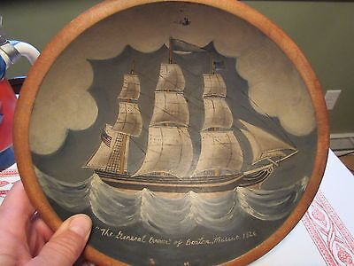 Folk art Hand Painted Clipper Ship 1826 General Brown Boston MA Wooden Bowl