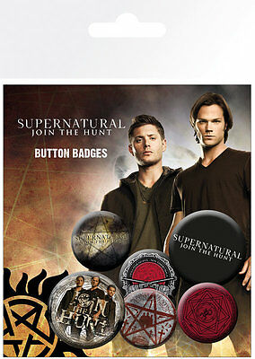 SUPERNATURAL Saving People BUTTON BADGES (6) NEW CARDED BAGGED Official