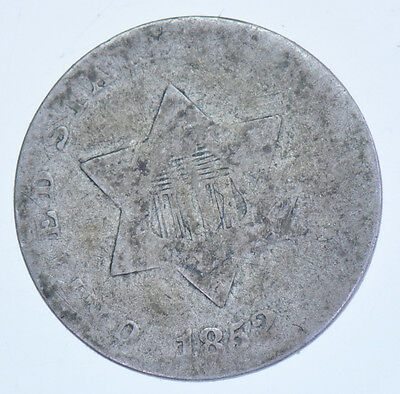 Usa, United States, Three Cents, Trime, 1852 Silver Coin Vg-8