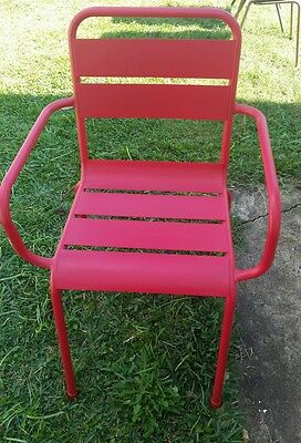 Outdoor Semi Stackable Red Metal Chairs