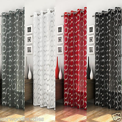 Mexico Eyelet Top Voile Panel Net Curtain Ready Made Grey/Silver,White,Red,Black