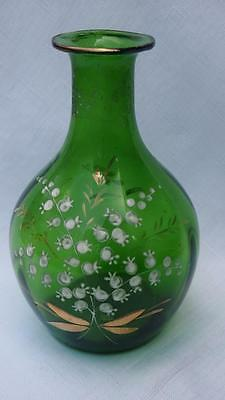 Antique Victorian Blown Glass Vase - Green w. Hand Painted Floral Pattern