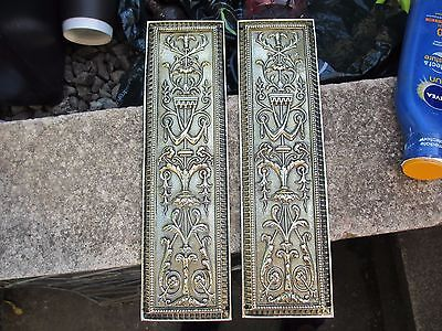 Antique Brass Finger Plates Push Door Handles WT&S Victorian Beading Gilt Urn