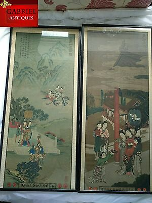 A Pair Antiques Chinese pictures Woodblock print signed, stamped