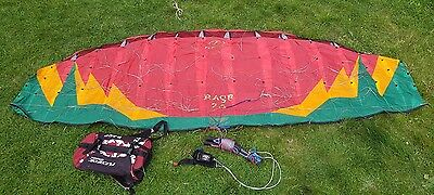 Flexifoil Rage 2.5m Red Rasta power kite perfect with prolink handles& lines