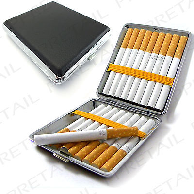 New CIGARETTE CASE Tin Holder Tobacco Smoking + BLACK + FAST & FREE POSTAGE