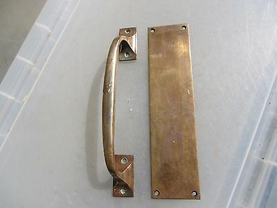 Vintage Bronze Door Handles Set Pull & Finger Plate Architectural Antique Old