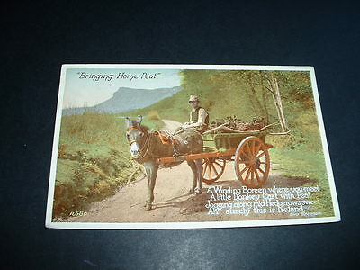IRELAND  BRINGING HOME THE PEAT EVA BRENNAN EARLY 1900s  POSTCARD USED