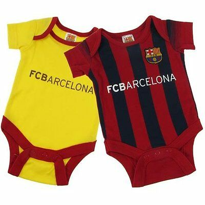 FC Barcelona 2 Pack Baby Bodysuits Vests Offical Merchandise 12-18 Months