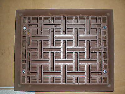 Vintage Stamped  cast wall grate 9-3/4x11-3/4  Dated 1885&1886