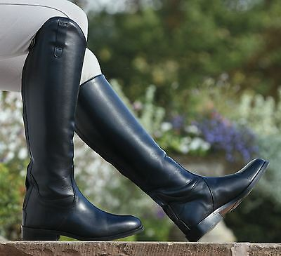 Norfolk  Long Black Leather Boots Horse Riding Footwear Stable Yard