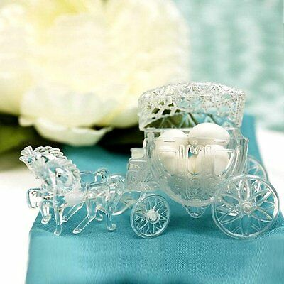 12 pcs Plastic CLEAR Cinderella Coach Favor Holders Wedding Party Decorations