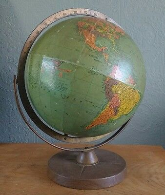 Replogle 12 inch Terrestrial Globe Vintage 1950s/1960s Gimble Mounted