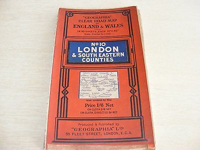 Vintage Geographia Map - No.10 LONDON & South East Counties