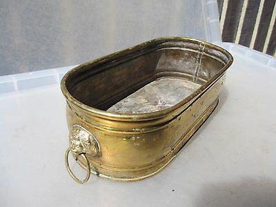 Vintage Brass Trough Tub Planter Plant Pot Window / Garden Old Urn Antique Lion
