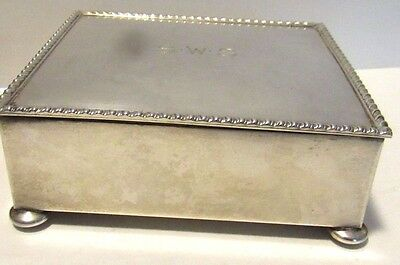 Sterling silver hand wrought cigarette box with mono