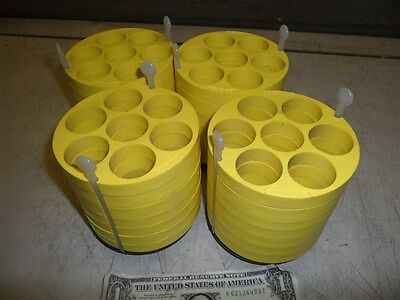 4 BECKMAN YELLOW CENTRIFUGE ADAPTERS  339158-7 TUBE CAPACITY w 349947 BASE