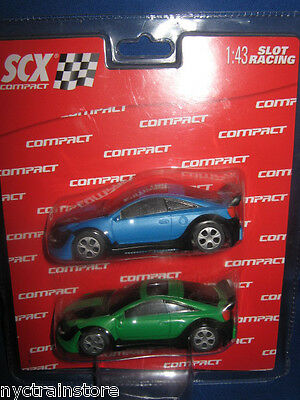 SCX 1:43 Compact Neon Glow Tuning Car Green Blue  Race in the dark! NIB