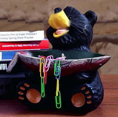 Free Shipping New Carved Wood Look Black Bear Holding Fish Bowl Salmon Lodge