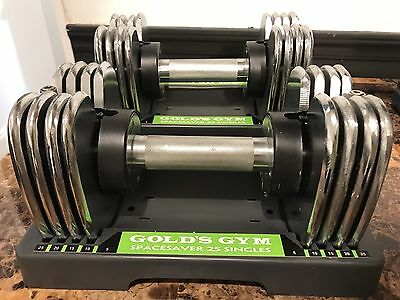 PAIR (QTY 2) ProForm Golds Gym SpaceSaver Dumbbell 25 Single (50 Lbs) Adjustable
