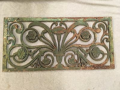 Large Antique Cast Iron Floral Victorian Window Cover Grill Shabby Vtg 345-17E