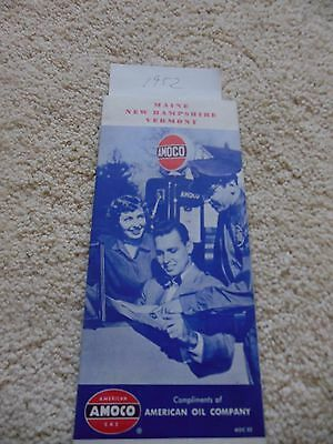 1952 Amoco Road Map Maine,New Hampshire and Vermont