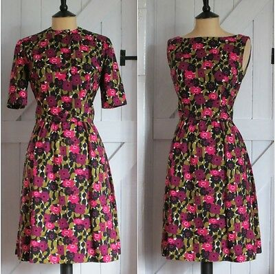 Original Vintage 50s 60s Floral Cotton Dress & Jacket Set Occasion Wedding 8 10