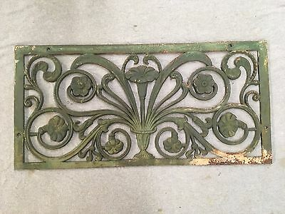 Large Antique Cast Iron Floral Victorian Window Grill Shabby Vtg Chic 348-17E