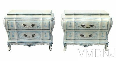 VMD 1198-Pair Karges Paint Decorated Bombe Commodes