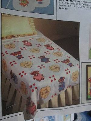 Tri-Chem Early To Bed Teddy Love Quilt Top To Paint/Embroider-Liquid Embroidery