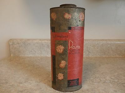 Vintage Loveland Rose Talcum Powder Container Heavy Paper And Tin