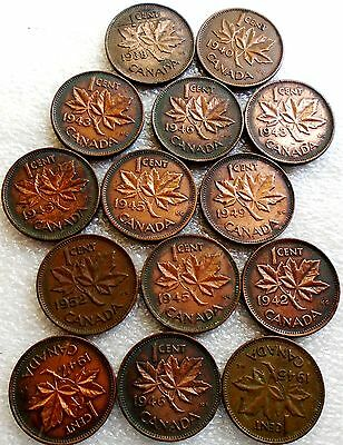 LOT OF 14 CANADA ONE CENT COINS, 1938 to 1952 (see dates), all nice