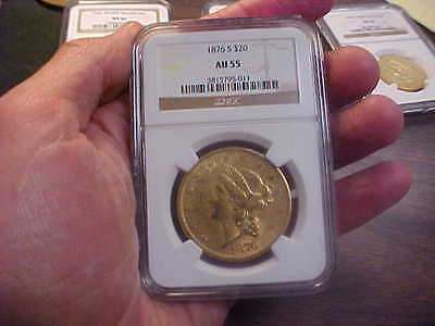 1876 S  LIBERTY DOUBLE  Eagle GOLD $20 Coin  TYPE 2  NGC AU 55  OLD GOLD