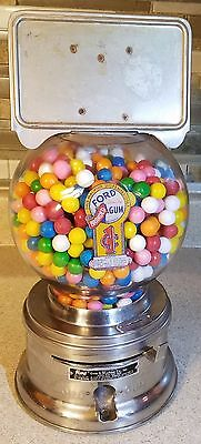 FREE SHIPPING! Vintage FORD 1¢ Gumball Candy Vending Machine w Marque & Key