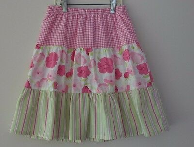 EUC Gymboree Girls Gingham Floral Striped Tiered Easter Skirt Size 6