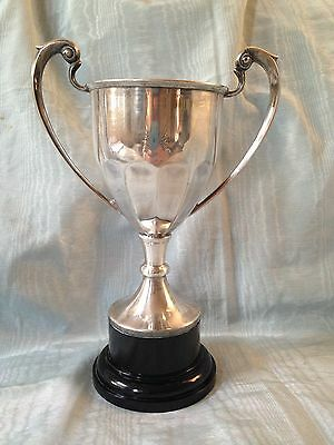 Large Vintage Silver Plate Trophy Cup Not Engraved 8.25 Inches High