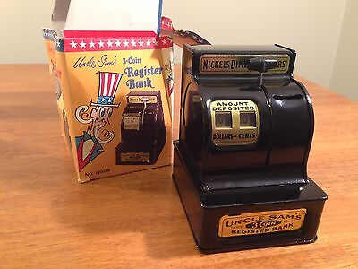 Vintage Antique Uncle Sam's 3-Coin Three Coin Register Bank Black with Box RARE