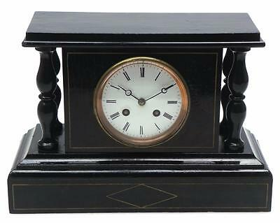 Nice Antique Victorian 8 Day French Mock Slate Stepped Top Striking Mantel Clock
