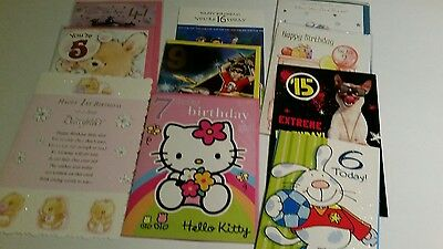 Job Lot Of 10 Quality Assorted  Childrens Age Birthday Cards