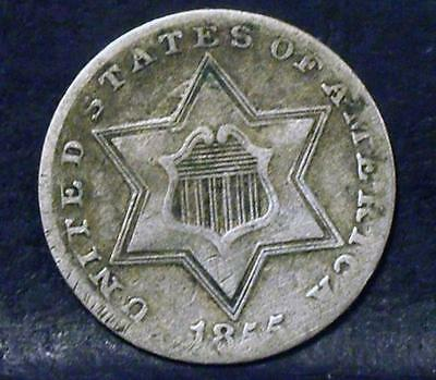 1855 3 Cent Silver Cent Piece Id#mm377