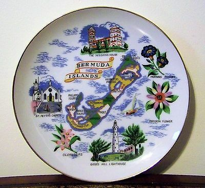 Bermuda Islands Map Souvenir Plate Sessions House Gibbs Hill Lighthouse Oleander