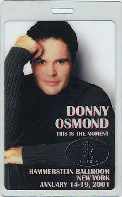 Donny Osmond 2001 Tour Laminated Backstage Pass