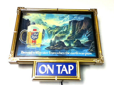 Old Style beer sign framed lighted waterfall display back bar light on tap IF3