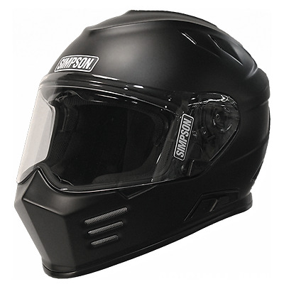 Simpson Venom Ghost Bandit Mat Black Full Face Motorcycle Helmet, size Large
