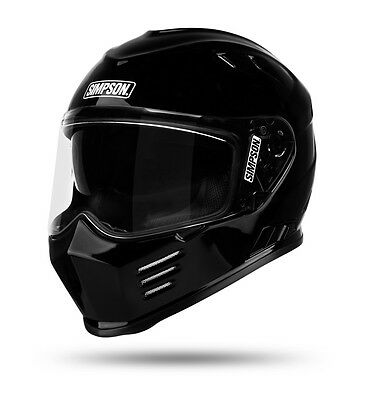 Simpson Venom Ghost Bandit Gloss Black Full Face Motorcycle Helmet, size XL