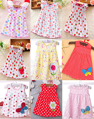 Baby Girls Toddlers Infant Cute lightweight  Cool Cotton Summer Dresses UK Stock